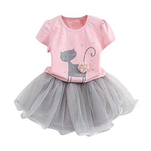 Kids Girl Toddler Baby Girl Summer Casual Short Sleeve Cute Cat & Floral Tutu Dress Clothes (Pink, 3T/100) (Sleeve Puff Dress Jersey)