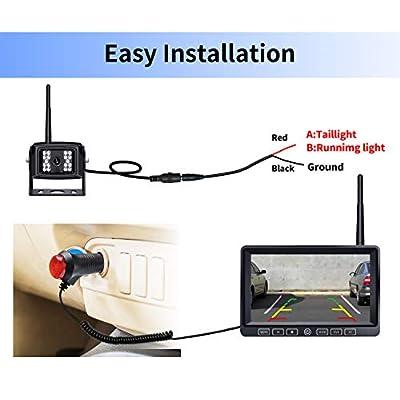 ZEROXCLUB Digital Wireless Backup Camera System Kit,HD1080P Wireless Reverse Rear Side View Camera,No Interference,IP69 Waterproof + 7'' LCD Wireless Monitor for RV/Truck/Trailer/Bus/Pickup/Van-B4C: Car Electronics