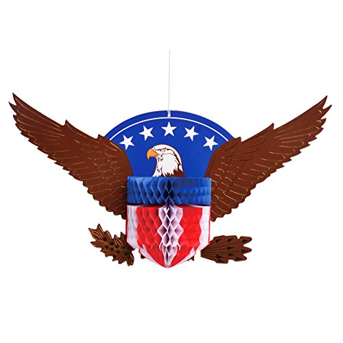 SUNBEAUTY Bald Eagle Paper Honeycomb Table Centerpiece Fourth of July Patriotic Gifts Decorations, Red White Blue ()