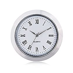 ShoppeWatch Mini Clock Insert Quartz Movement Round 1 7/16 (35mm) Miniature Clock Fit Up White Face Silver Tone Bezel Roman Numerals CK097SL