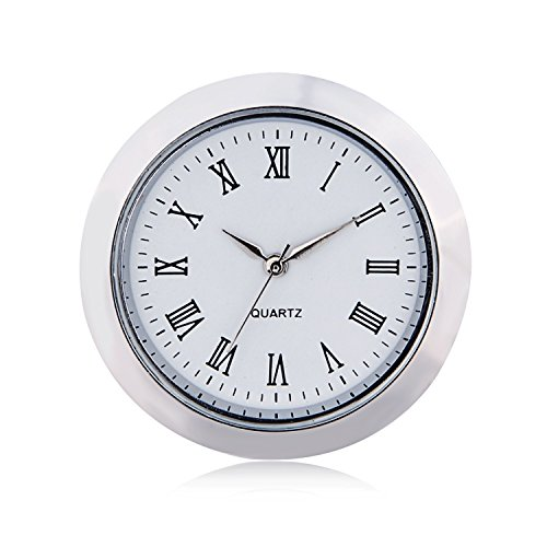 "ShoppeWatch ShoppeWatch Mini Clock Insert Quartz Movement Round 1 7/16"" (35mm) Miniature Clock Fit Up White Face Silver Tone Bezel Roman Numerals CK097SL price tips cheap"