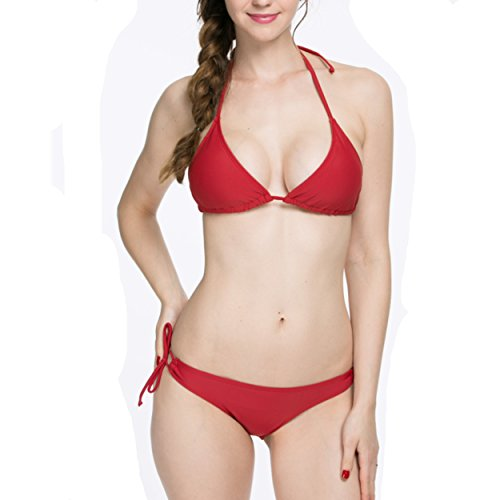 NEOSAN Halter Triangle Padded Top Bikini Set Swimwear Swimsuit Burgundy L