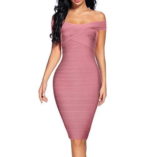 c6be32e42dba Women's Bandage Dress Off Shoulder Spaghetti Bodycon Club Party Dress