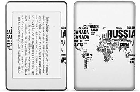igsticker kindle paperwhite 第4世代 専用スキンシール キンドル ペーパーホワイト タブレット 電子書籍 裏表2枚セット カバー 保護 フィルム ステッカー 016209 世界地図 モノクロ
