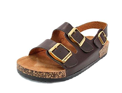 Kali Womens Open Toe Buckle Strap Sandals (Adults) (9 B(M) US, Brown 2)