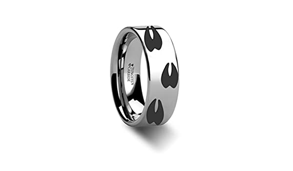 Thorsten Animal Horseshoe Horse Shoe Equestrian Print Pattern Ring Black Tungsten Ring 4mm Wide Wedding Band from Roy Rose Jewelry