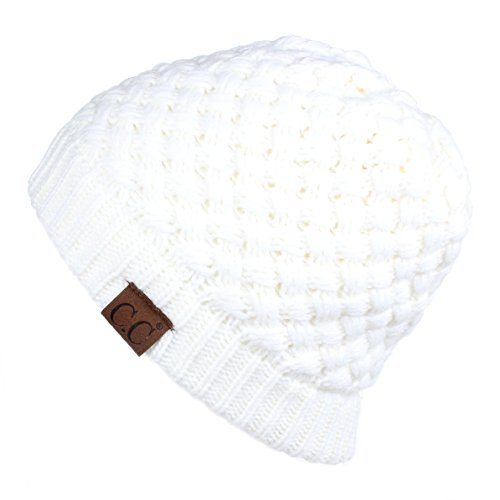 Hatsandscarf CC Exclusives Knit Warm Inner Lined Soft Stretch Skully Beanie Hat(HAT-47) (Ivory)