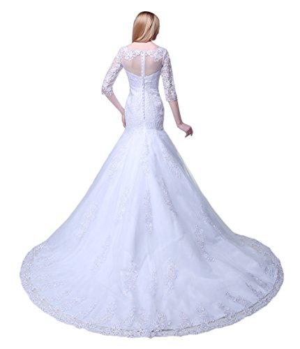2 Meerjungfrau Blume nbsp;Sleeve Kleid Applikation Weiß Bateau Hochzeit 1 engerla Spitze Damen n7qxH