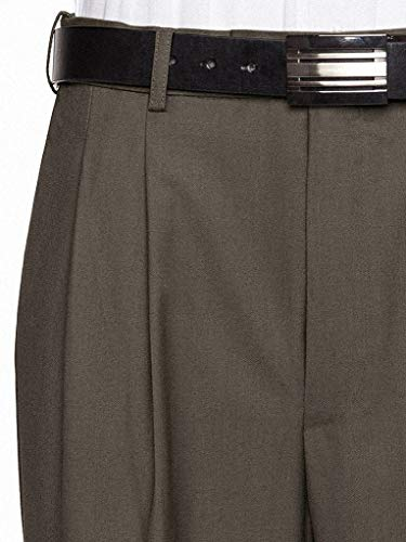 GIOVANNI UOMO Mens Pleated Front Expandable Waist Dress Pants Olive 34W x 30L