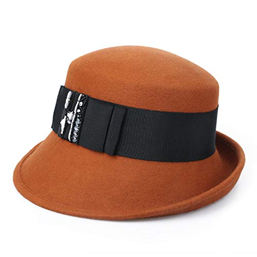 Fashion Hat Fall Winter New Wool Leisure hat Keep Warm Bowknot Bucket Hat Comfort (Color : B, Size : M)