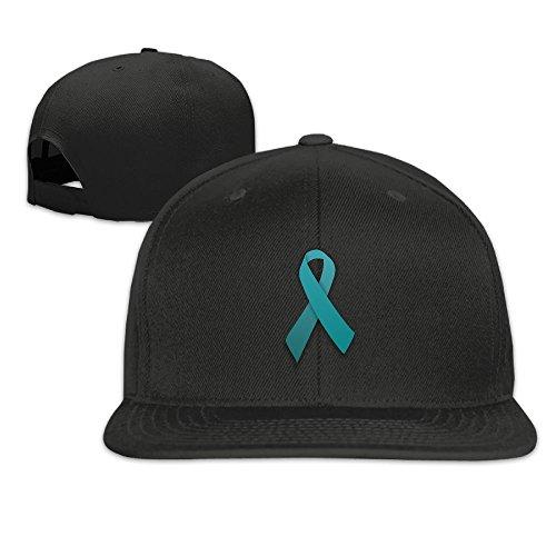 Vsricco Teal Ribbon Ovarian Cancer Sexual Assult Awareness Baseball Cap Adjustable Trucker Hat Black