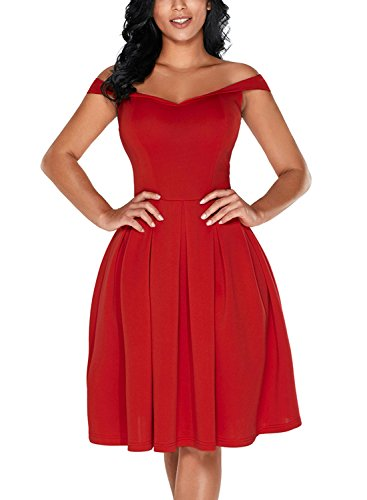 Dokotoo Womens 2018 Fashion Ladies Modest Elegant Off Shoulder Short Sleeve High Waist A Line Swing Skater Midi Dress For Party Cocktail Evening Red Large