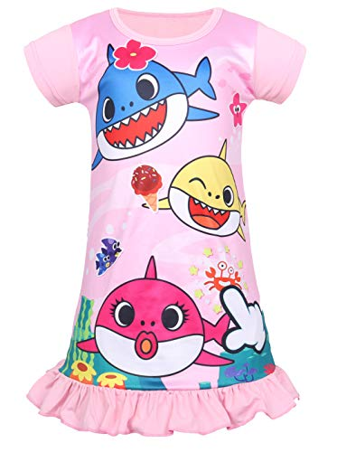Coralup Toddler Girls Short Sleeve Nightgown Dress(Pink,5-6 Years)
