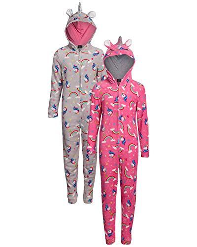 dELiAs Girls Coral Fleece Onesie Pajamas with Character Hood (2 Pack) (Grey/Pink Unicorn, 10/12)' (Pink Unicorn Footed Pajamas)