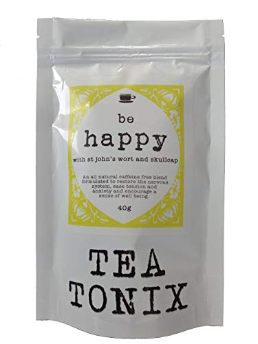 Be Happy Tea for Depression and Stress Relief with St. Johns Wort, Vervain, and Skullcap 40g - to Restore The Nervous System, Ease Tension and Anxiety, and Promote a Sense of Well Being