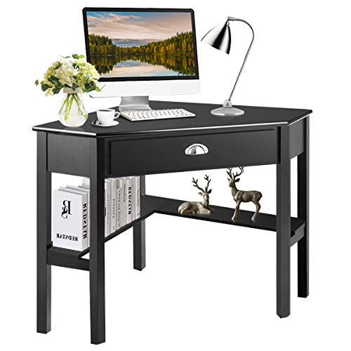 Tangkula Corner Desk, Corner Computer Desk, Wood Compact Home Office Desk, Laptop PC Table Writing Study Table, Workstation with Storage Drawer & Shelves