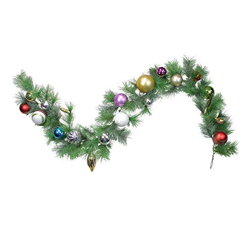 """(Northlight 6' x 9"""" Multi-Color Ball Ornament Long Needle Pine Artificial Christmas Wreath –)"""