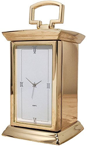 Gold Metal Carriage Clock - iLuv Regent Carriage Clock with Gold Finish and Roman Numeral Face