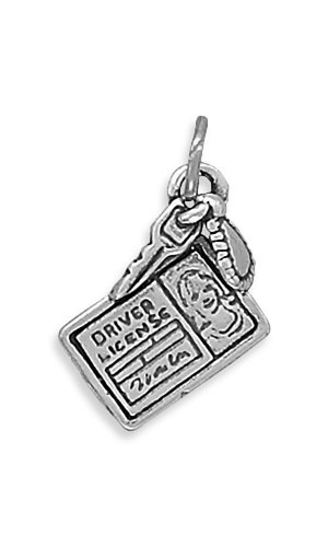 Corinna-Maria 925 Sterling Silver Driver License Charm Comes with a Split (Sterling Silver Car Charm)