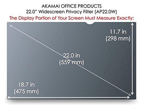 Akamai Office Products 22.0 Inch (Diagonally Measured) Privacy Screen Filter Widescreen Computer Monitors-Anti-Glare (AP22.0W) PLEASE MEASURE CAREFULLY by Akamai Office Products (Image #1)