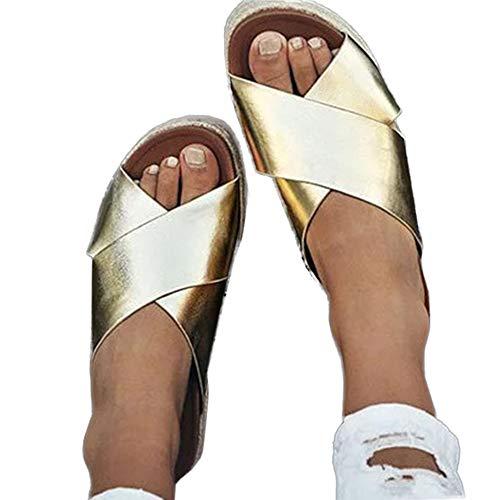 - Yu Li Women's Platform Espadrilles Criss Cross Slide-on Open Toe Faux Leather Studded Summer Sandals Gold 38