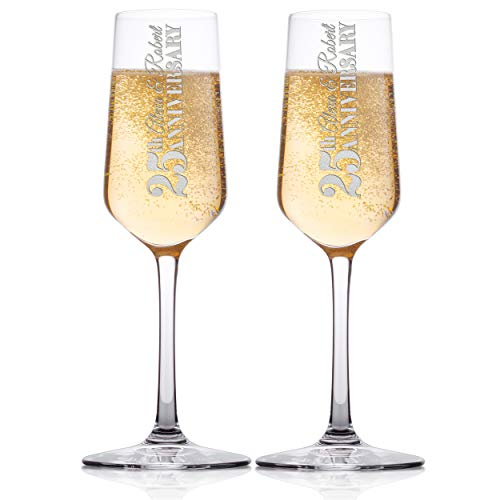 Set of 2 - Personalized Wedding Champagne Flute Glasses, Customized Wedding Champagne Glasses for Bride and Groom, Mr & Mrs Names for Anniversary, Celebration Champaign Flute Set - C9