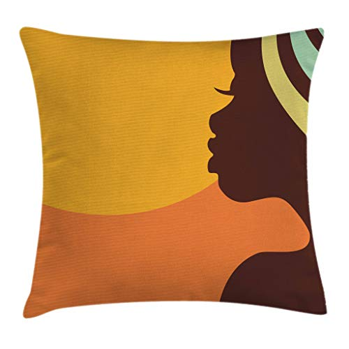 Ambesonne African Woman Throw Pillow Cushion Cover, Teenage Girl Pretty Face Profile Abstract Sunset Calm Evening, Decorative Square Accent Pillow Case, 16 X 16 Inches, Orange Salmon Dark Brown