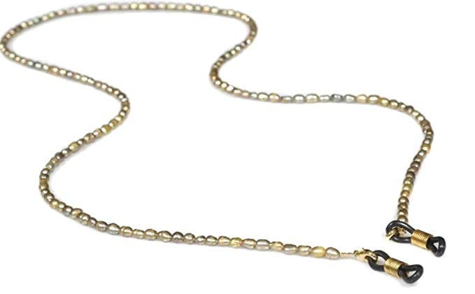 c4c7972f3599 Amazon.com  Caramel Eyeglass Chain in Gold Pearl