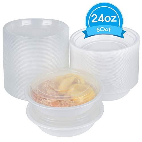 TashiBox 24 oz Disposable Plastic Bowl with Lids, Salad Bowl with Lids - 50 count.