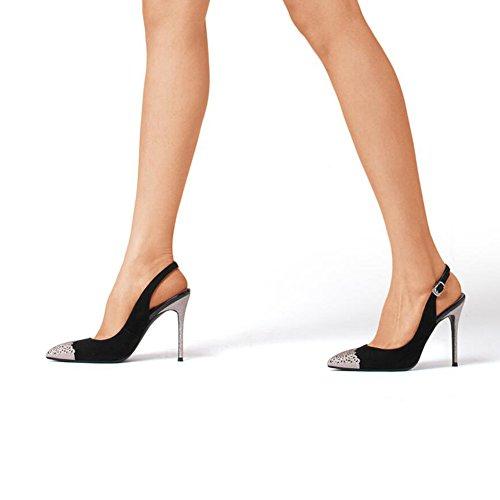 Gommage Haut Talons 35 taille CN Chaussures EU Mode Et Escarpins UK Tête DALL Sandales 3 10 Pour De Noir Printemps Été 553 35 De Ly 5 5cm Hauts Pointue Femmes qS1nBtZ