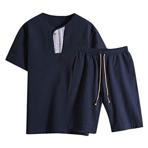 Summer Fashion Men's Cotton and Linen Short Sleeve Shorts Set Suit Tracksuit Navy ()
