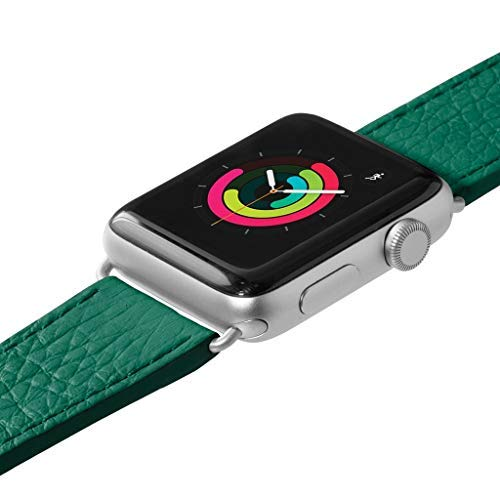 LAUT   Milano Watch Strap for Apple Watch Series 1/2/3/4   Genuine Italian Leather   Classic Italian Style   Stainless Steel Clasp & Connectors (38mm / 40mm • Emerald)