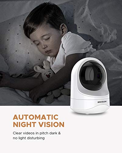 Muson 1080P HD Dome Surveillance Camera WiFi Home Camera for Baby/Pet/Nanny with Motion Detection, Night Vision, Two-Way Audio, Works with Alexa