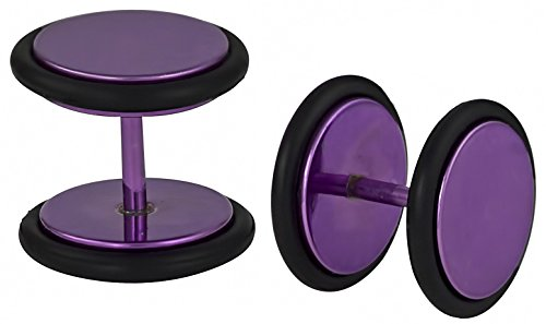 16g 10mm Titanium IP Purple Surgical Steel Cheater Plug Earrings, Fake 00 Gauge Earrings