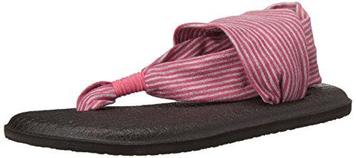 Sanuk Kids Yoga Sling Burst Flip Flop (Toddler/Little Kid/Big Kid),Fuchsia/Purple Stripes,5/6 M US Little Kid (Sanuk Surf Clothing)
