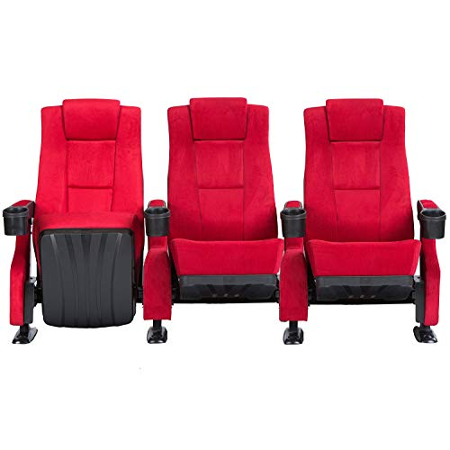 Octane Seating The Fanfare Movie Seating Red Fabric - Straight Row of 3 Chairs ()