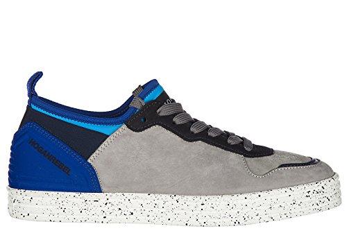 HOGAN REBEL Mens Shoes Leather Trainers Sneakers r141 Rebel Grey