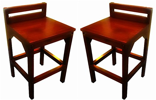 Urnporium Mahogany Wood Made by Craftsmen, Low Back, Set of 2 by Urnporium