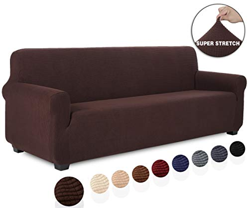 TIANSHU Jacquard Couch Cover, 1-Piece Couch Cover for Sofa, Slipcover for Living Room, Soft/Durable/Stay in Place Sofa Cover (XL Sofa, Chocolate)