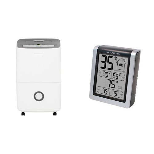 Frigidaire 30-Pint Dehumidifier with Effortless Humidity Control, White & AcuRite 00613 Humidity Monitor with Indoor Thermometer, Digital Hygrometer and Humidity Gauge Indicator