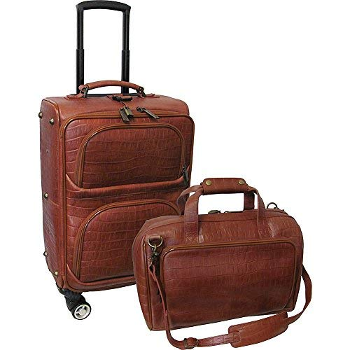 AmeriLeather Traveler Croco Print Leather 2pc Spinner Luggage Set (Brown)