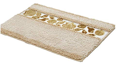 - Sytian Decorative Floral Design Rural Style Beautiful Seashell Pattern Shaggy Area Rug Soft Non Slip Absorbent Doormat Bath Mat Bathroom Shower Rug Bedroom Living Room Carpet (40x60cm,Beige)