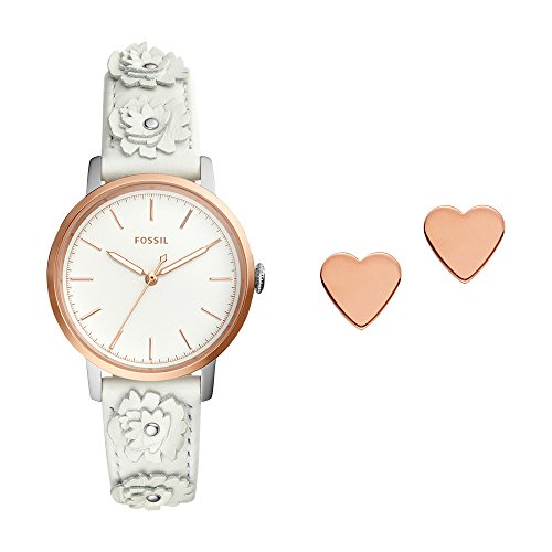 Fossil Women's 'Neely' Quartz Stainless Steel and Leather Casual Watch, Color:White (Model: - White Rose Fossil Gold And Watch