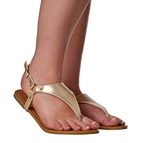 Riverberry Women's Aida Slingback Thong Flat Sandals, Gold, 10 ()