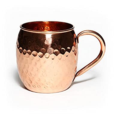 Gourmand Goods Hammered Moscow Mule Mug, 100% solid copper, 16 oz with classic welded handle