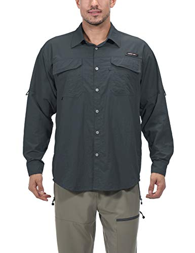 Little Donkey Andy Men's UPF 50+ UV Protection Shirt, Long Sleeve Fishing Shirt, Highly Breathable and Fast Dry Gray XL