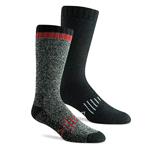 Hidden Peak Outdoor Men's Tough Merino Wool Cushion Boot Sock with Reinforced Heel & Toe for Hiking (2 Pack) (Black, Men's Shoe Size 12-16 (US))