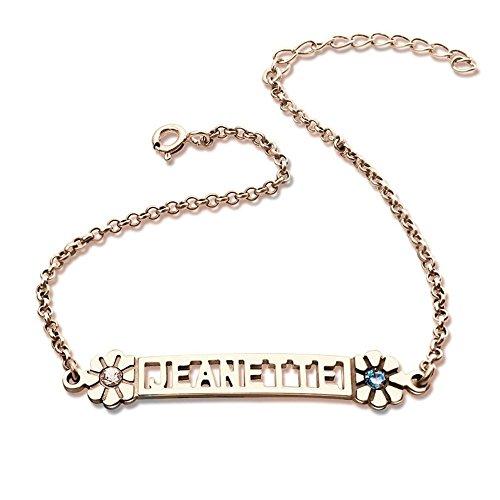 2d8353553d0c2 Amandasessom Custom Birthstone Name Bracelet in Silver Cut Out Nameplate  Charm Bracelet With Birthstone Best Gift Rose Gold 5.5