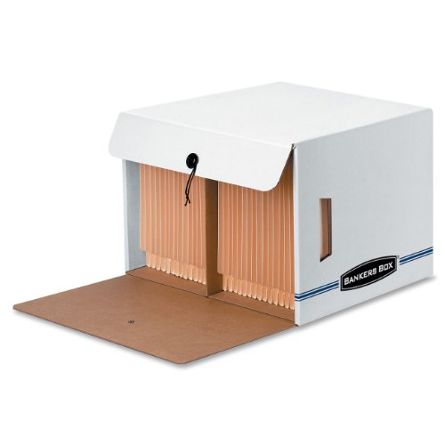 Bankers Box Side Tab Storage - Bankers Box SIDE-TAB DROP FRONT Storage Boxes, Standard Set-Up, String and Button, Letter, 15 1/4 x 13 1/2 x 10 3/4 Inches, Case of 12 (00061)
