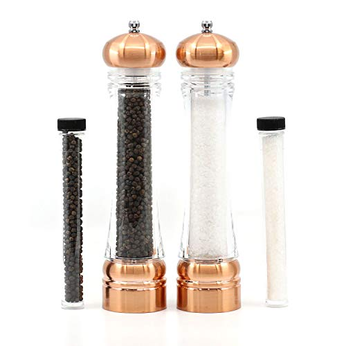 Orii 4-Piece Salt and Pepper Mill Set with Refills - Copper